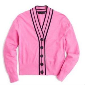 New.! J Crew Tipped Cardigan Sweater Sz L Fuchsia